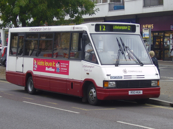 Optare Metrorider R93HUA sporting the new Littlehampton Town Bus livery